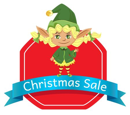 Christmas sale, holiday discounts poster. Elf stand on label with advertising caption. Little girl in green traditional costume and hat. Promotion label with fairy character. Vector illustration 向量圖像