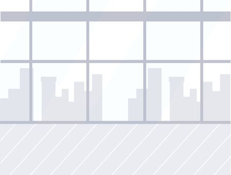 Skyscrapers in window, airport empty room interior design vector. Glass wall and wooden floor, cityscape and towers silhouette, departure or arrival