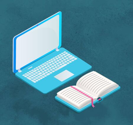Laptop or personal computer with opened paper book isolated on blue. Device with screen and keyboard. Text book with hard cover. Supplies for education and work. Vector illustration in flat style Stock Vector - 134745330