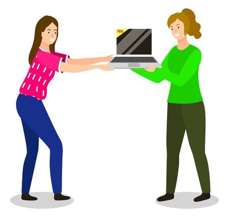 People arguing about personal computer on sale. Angry female characters fighting over laptop with discount. Price lowering at store and personages that want to buy item with big offer vector
