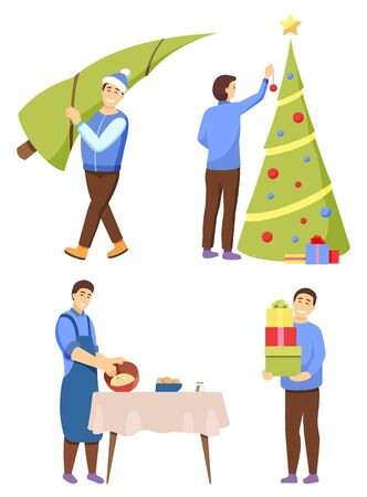Man preparing for Christmas vector, isolated characters at home. Male carrying bought pine tree. Person decorating fir with baubles and garlands. Dad cooking dishes and holding presents for family