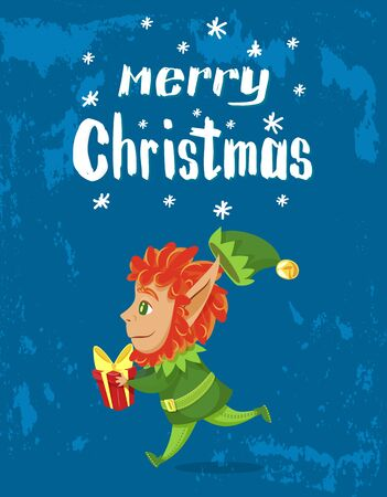 Merry christmas and happy new year, designed caption on poster. Boy in green costume hold red box with gift for kid. Xmas greeting postcard with elf, santa assistant. Vector illustration in flat style Foto de archivo - 134665168