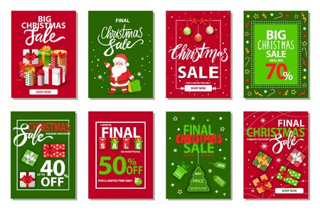 Christmas sale vector, isolated set of cards for winter holidays clearance. Discounts of shops celebration of seasonal offers.