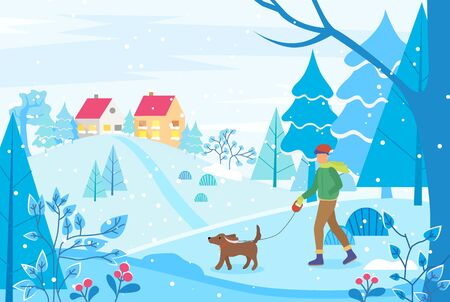 Winter cityscape with houses on hill. Man walking dog on leash. City landscape with trees and bushes.