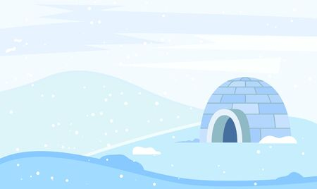 Igloo made from ice bricks by people. Housing for indigenous north families. Snow house or hut single located on ground. Beautiful landscape of circumpolar places. Vector illustration in flat style