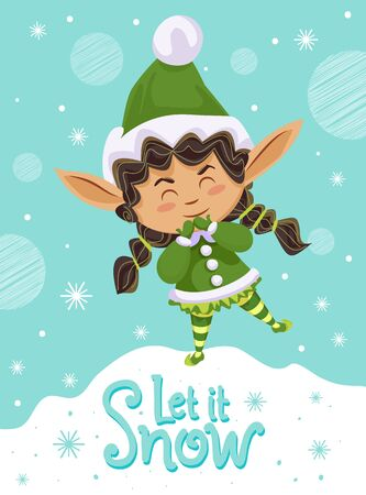 Let it snow, designed caption on poster. Little girl in green costume greets people with snowy winter. Foto de archivo - 134745082