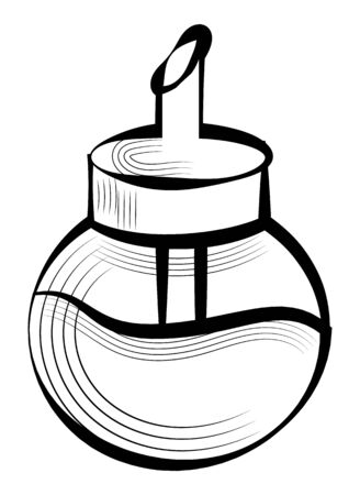 Sketch of sugar-basin, sweet ingredient in glass bowl with tube. Black outline of sugar-bowl, coffee or cook element, mix equipment, kitchenware vector 版權商用圖片 - 134690794