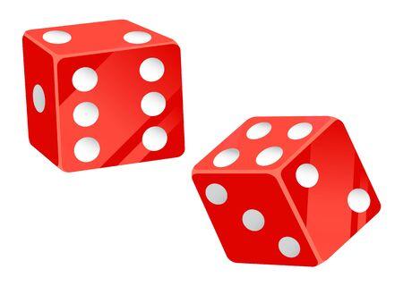 Vector de elementos de juego de casino, dados rojos aislados con estilo plano de puntos. Lanzar cubos para ver el resultado, apostar y jugar con dinero en el lugar del jugador Ilustración de vector