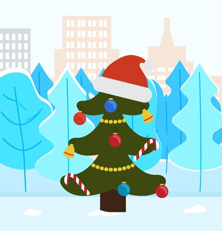 Christmas tree in park of winter city. Pine decorated with santa claus hat, baubles and garlands. Spruce and landscape with snowy peaks.