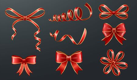 Set of red bows made from ribbons isolated on black background. Sample of knots for decoration gift boxes for holiday.