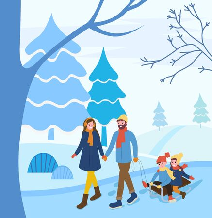 Man and woman holding hands pulling sleigh with children. Couple with kids on vacation. Family spending weekends together.