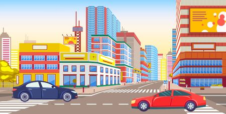 Cars on city roads vector, transportation in town. Cityscape with greenery and transport, skyscrapers and tower, billboards and advertisements center