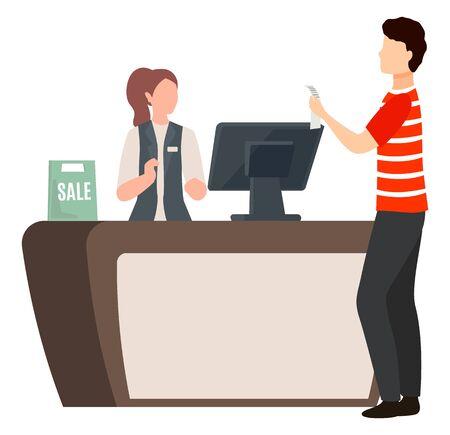 L'homme se tient près de la table de caisse avec reçu. Femme travaillant au marché en tant que caissière et assistante. Illustration vectorielle à plat