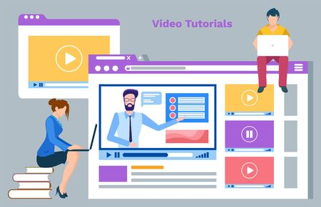 Online courses in internet vector, video tutorials and website with information on discipline details. Man and woman using laptops education and studies