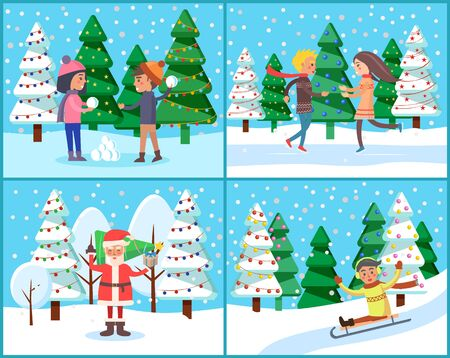 Character in winter landscape, set of people in parks with trees covered with snow. Santa Claus and kids playing snowball fight. Child downhill on sledges, xmas celebration and activities vector