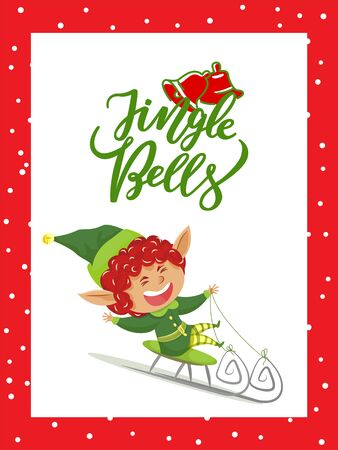 Jingle bells caption, christmas time. Elf actively spend time riding sleigh and having fun. Character greet people with xmas holiday. Vector illustration of greeting postcard with designed caption