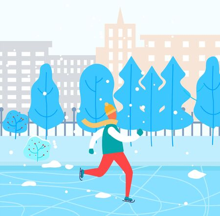 Man skating on rink alone in urban park. Guy spend leisure time doing his hobby. Outdoor activity in winter. Landscape with city buildings and snowy trees on background. Vector illustration in flat Ilustração