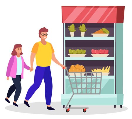 People buying food for home. Dad and daughter with shopping trolley choosing meal for breakfast or dinner.