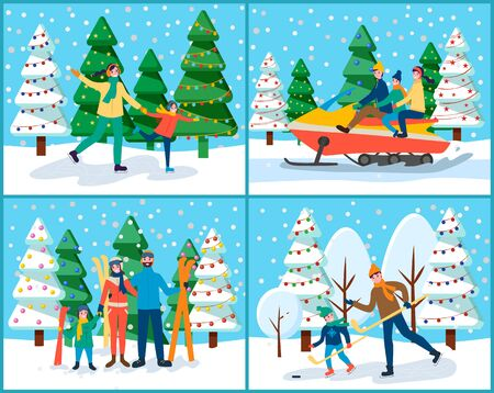 Winter holidays of families. Dad teaching kid to play ice hockey. People on jet riding through landscapes and snowy hills. Mom and father with child skiing and skating on rink flat style vector