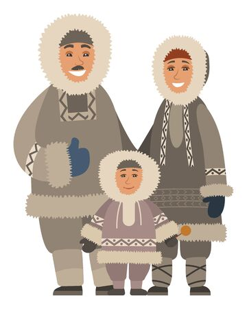 Arctic smiling family in warm traditional clothes standing together. Happy parents and kid wearing fur coat and mittens for Alaska weather. Portrait view of mother, father and son embracing vector Illusztráció