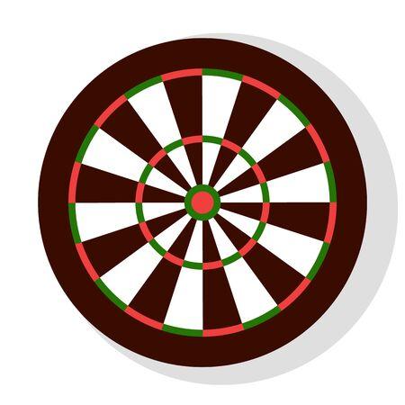 Dart-Spiel, bunte runde Dartscheibe mit Streifen, Element der Junggesellenabschied oder Unterhaltung. Freizeit oder Wettbewerb mit Hit-Symbol, mit dem Zielzeichenvektor Vektorgrafik