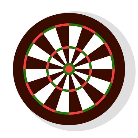 Darts game, colorful round dartboard with stripes, element of bachelor party or entertainment. Leisure or competition with hit icon, aiming sign vector