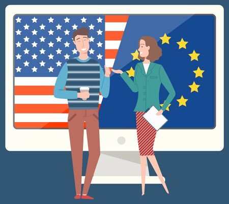 Business relations of strategic partners vector, usa and europe connection. Man and woman with document contract, talk of colleagues on coffee break Иллюстрация