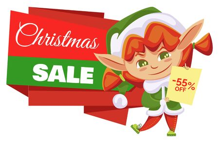 Christmas sale and winter discount in shops, elf girl in green costume holding blank wish list. Santa helper and holiday clearance, price off or reduction.