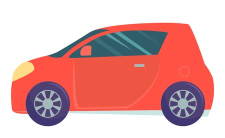 Automobile vector, isolated smart car small sized auto. Transport with no harm for ecology, modern vehicle transportation in city or town, driving ecar illustration in flat style design for web, print Banque d'images - 135145057