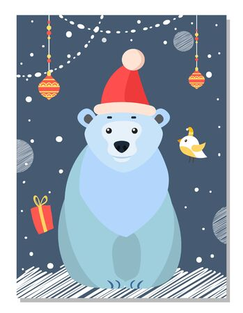 Polar white bear sitting alone among christmas decor. Xmas time, preparing for winter holiday. Arctic animal in festive red hat. Balls, garlands and present box. Vector illustration in flat style