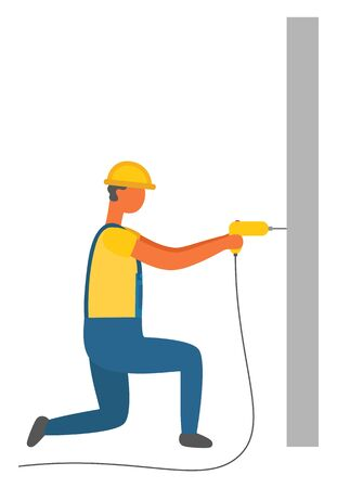 Repairing man vector, isolated character with drill and wall. Working male, wearing protective helmet handyman with special instrument, work tool Ilustração