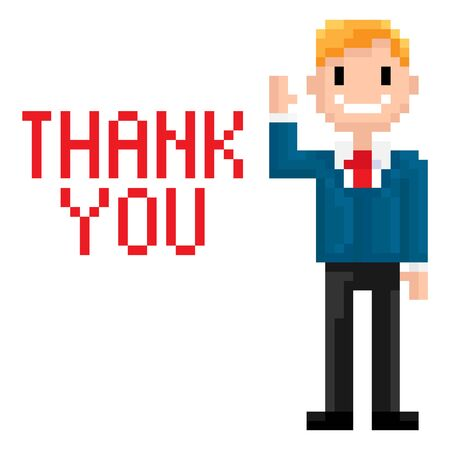 Pixel man greeting vector, pixelated character saying thank you and waving his hand, isolated male smiling and expressing thanks, businessman smiling