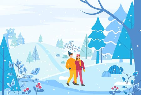 Couple walking together in winter park or forest. People hugging each other, man and woman on romantic date in snowy wood.