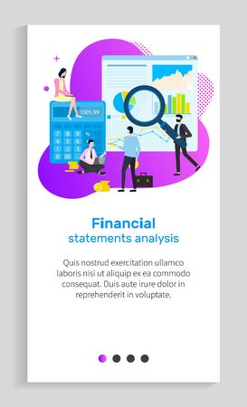 Financial statement analysis vector, businessman holding magnifying glass and zooming information on paper, infocharts and segments of pie diagram. Website or app slider, landing page flat style