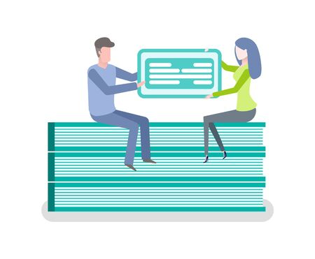 Sitting man and woman holding financial empty blank, online payment, checkbook template, electronic form filling, banner cash account, document icon vector