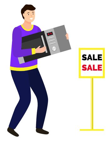 Man buying microwave oven from electronics shop. Happy character carrying electric appliance for kitchen on sale.