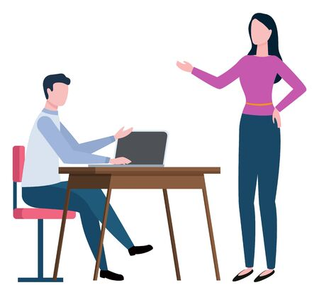 Broker collaboration or worker consultation to client on workplace. Man communication with laptop, woman speaking, company work, professional vector