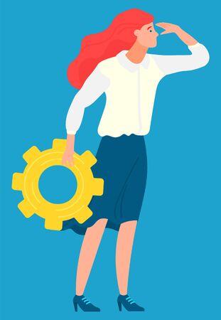Employee character holding cogwheel, business ambitions. Worker developing, woman setting, company innovation, creative idea, development technology vector Illusztráció