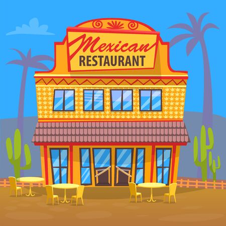 Mexican cuisine restaurant vector, exterior of eatery. House with signboard and entrance for clients. Palms and cactus desert environment, eating place  イラスト・ベクター素材