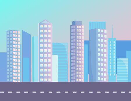 Edificios altos en la ciudad de fondo en la puesta de sol. Camino asfaltado liso, calle sin coches y señalización blanca. Hermoso paisaje urbano con rascacielos y cielo azul. Ilustración de vector de estilo plano