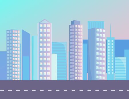 High buildings in city on background on sunset. Smooth asphalted road, street with no cars and white marking. Beautiful cityscape with skyscrapers and blue sky. Vector illustration in flat style