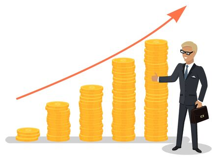 Successful businessman wearing glasses and expensive suit standing in front of growing red graph. Arrow going up, investment financial concept vector Illustration