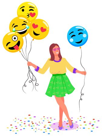 Woman with balloons posing vector, isolated female character holding inflatable toys in form of emoticons. Emoji smiling and laughing, kissing and shy face expression flat style lady in photozone Ilustração