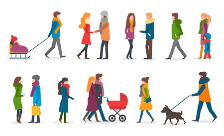 People wearing warm clothes in winter vector. Woman with kid sitting on sledges. Mother and father with perambulator and newborn baby. Friends talking holding bags. Male walking dog on leash