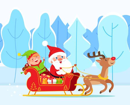Santa Claus riding sleigh with reindeer. Elf sit in sled with gift boxes. Christmas time in december, traditional holiday characters.