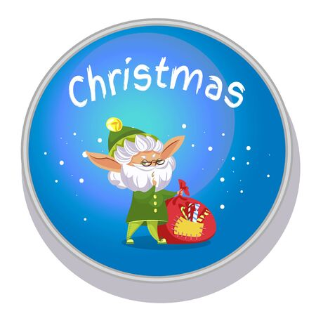 Christmas round icon with elf character and bagful with candies. Xmas postcard in blue color with helper holding bag with sweets.