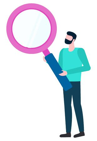 Bearded man with magnifying glass isolated cartoon style person. Vector male with magnifier analyzing and investigating with loupe. Broker examining symbol