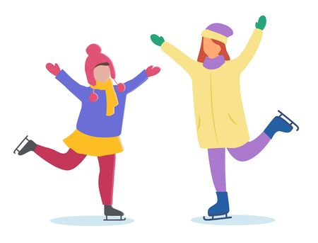Two girls skating on rink together. Woman and kid spend leisure time actively outdoor. Happy childhood on winter holidays. People posing at skate-rink isolated. Vector illustration in flat style