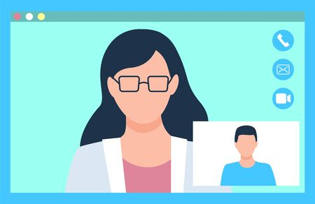 Medical video consultation, female doctor with glasses and man patient. Portrait and closeup view of people, hospital online, healthcare app vector Illustration