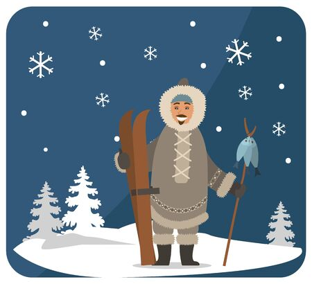 Smiling eskimo character in fur clothes holding wooden stick with fish on snowy landscape near fir-trees and snowflakes. Arctic postcard with happy hunter with skis under snow-falling weather vector